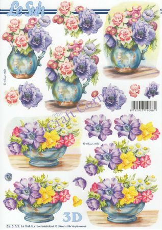 Anemone & Spring Flowers In Bowls 3d Decoupage Sheet